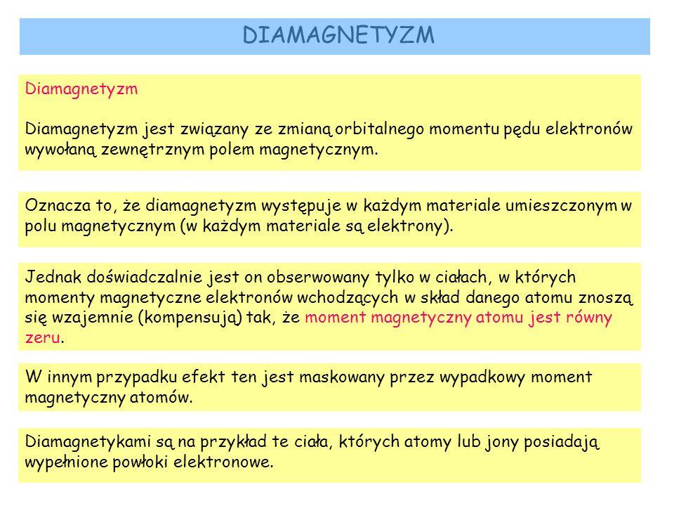 DIAMAGNETYZM Diamagnetyzm Diamagnetyzm jest związany ze zmianą orbitalnego momentu pędu elektronów wywołaną zewnętrznym polem magnetycznym. Oznacza to