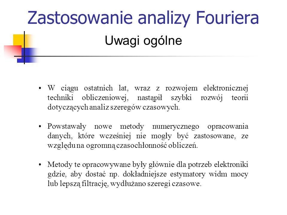 Zastosowanie analizy Fouriera Uwagi ogólne W ciągu ostatnich lat, wraz z rozwojem elektronicznej techniki obliczeniowej, nastąpił szybki rozwój teorii