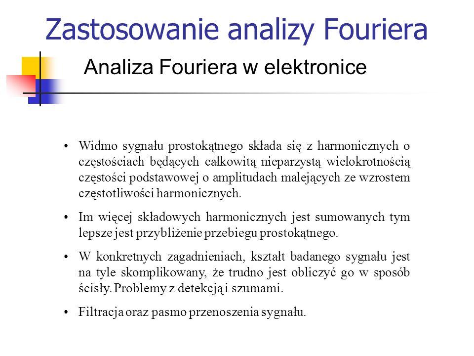 Zastosowanie analizy Fouriera Analiza Fouriera w elektronice Widmo sygnału prostokątnego składa się z harmonicznych o częstościach będących całkowitą