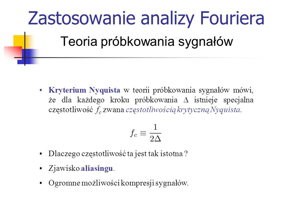 Zastosowanie analizy Fouriera Teoria próbkowania sygnałów Kryterium Nyquista w teorii próbkowania sygnałów mówi, że dla każdego kroku próbkowania istn