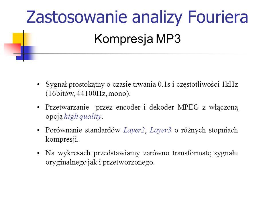 Zastosowanie analizy Fouriera Kompresja MP3 Sygnał prostokątny o czasie trwania 0.1s i częstotliwości 1kHz (16bitów, 44100Hz, mono). Przetwarzanie prz