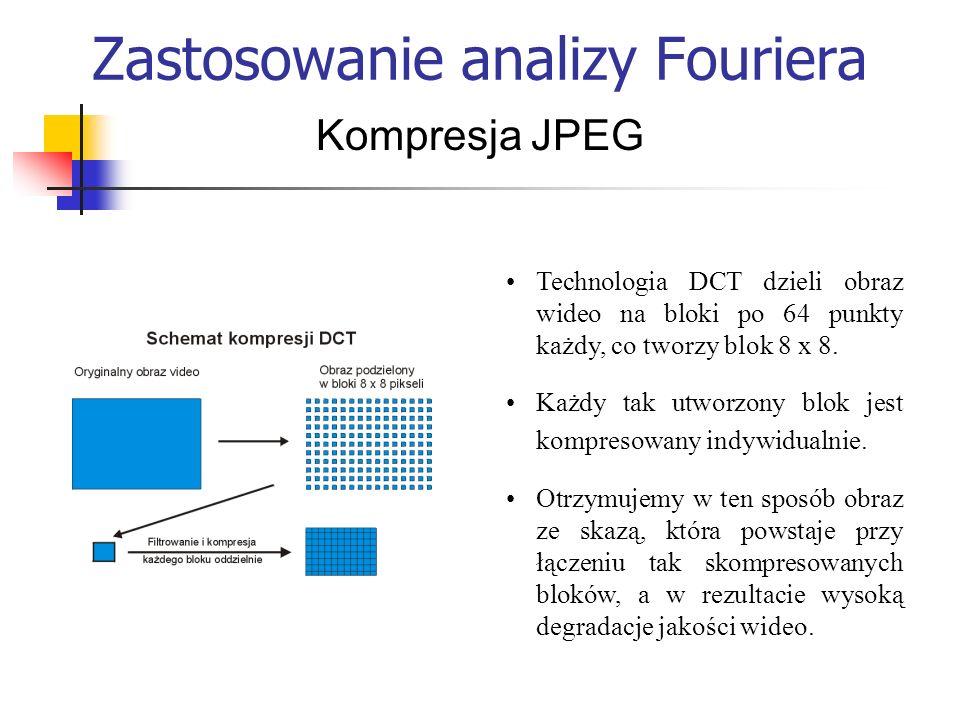 Zastosowanie analizy Fouriera Kompresja JPEG Technologia DCT dzieli obraz wideo na bloki po 64 punkty każdy, co tworzy blok 8 x 8. Każdy tak utworzony