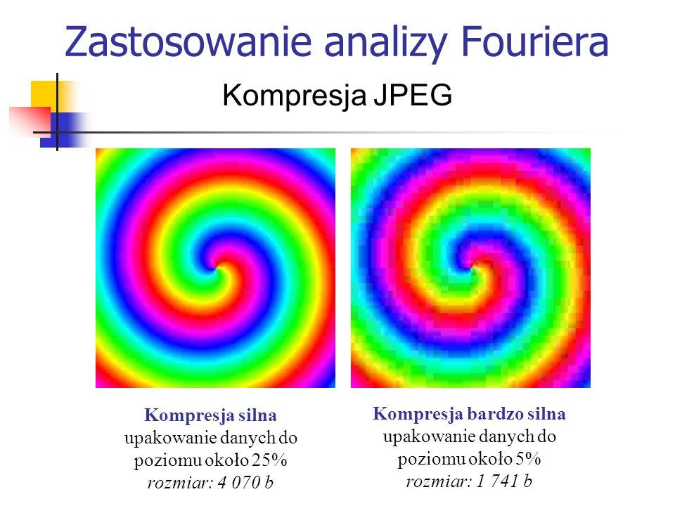 Zastosowanie analizy Fouriera Kompresja JPEG Kompresja silna upakowanie danych do poziomu około 25% rozmiar: 4 070 b Kompresja bardzo silna upakowanie
