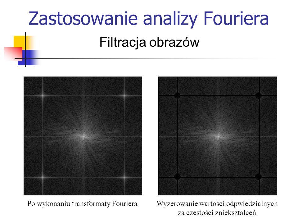 Zastosowanie analizy Fouriera Filtracja obrazów Po wykonaniu transformaty FourieraWyzerowanie wartości odpwiedzialnych za częstości zniekształceń