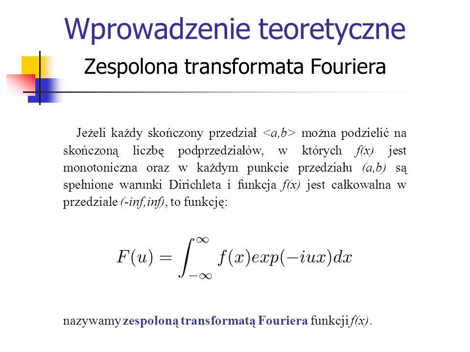 Zastosowanie analizy Fouriera Teoria próbkowania sygnałów Kryterium Nyquista w teorii próbkowania sygnałów mówi, że dla każdego kroku próbkowania istnieje specjalna częstotliwość f c zwana częstotliwością krytyczną Nyquista.