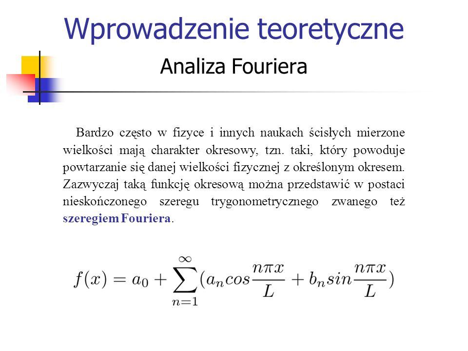 Analiza Fouriera Wprowadzenie teoretyczne Bardzo często w fizyce i innych naukach ścisłych mierzone wielkości mają charakter okresowy, tzn. taki, któr