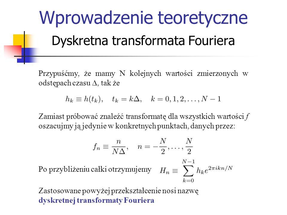 Wprowadzenie teoretyczne Dyskretna transformata Fouriera Przypuśćmy, że mamy N kolejnych wartości zmierzonych w odstępach czasu, tak że Zamiast próbow