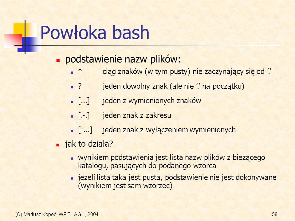 (C) Mariusz Kopeć, WFiTJ AGH, 200458 Powłoka bash *ciąg znaków (w tym pusty) nie zaczynający się od.