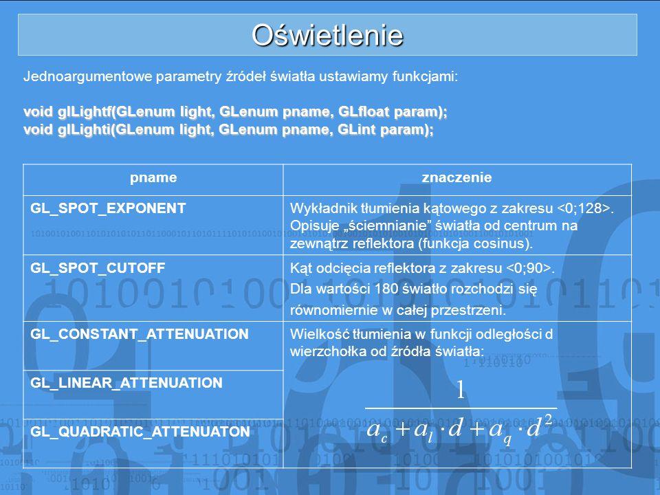Oświetlenie Jednoargumentowe parametry źródeł światła ustawiamy funkcjami: void glLightf(GLenum light, GLenum pname, GLfloat param); void glLighti(GLe
