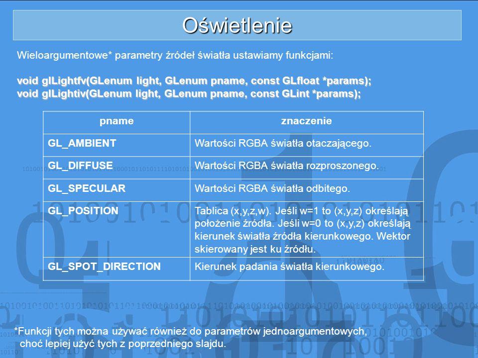 Oświetlenie Wieloargumentowe* parametry źródeł światła ustawiamy funkcjami: void glLightfv(GLenum light, GLenum pname, const GLfloat *params); void gl