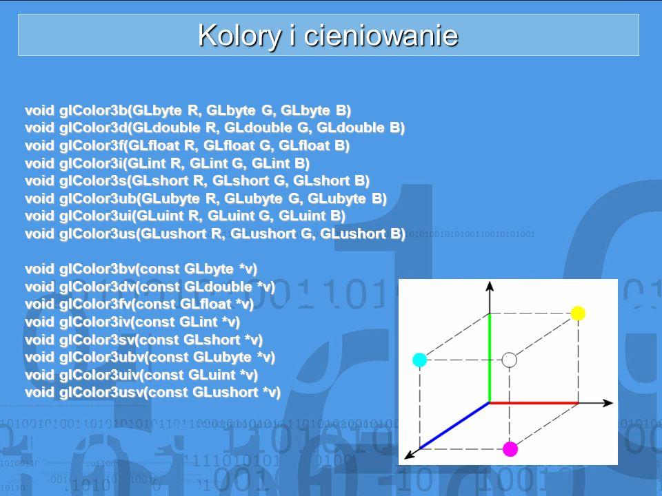 Kolory i cieniowanie void glColor3b(GLbyte R, GLbyte G, GLbyte B) void glColor3d(GLdouble R, GLdouble G, GLdouble B) void glColor3f(GLfloat R, GLfloat