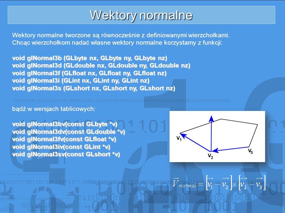 Wektory normalne Wektory normalne tworzone są równocześnie z definiowanymi wierzchołkami. Chcąc wierzchołkom nadać własne wektory normalne korzystamy