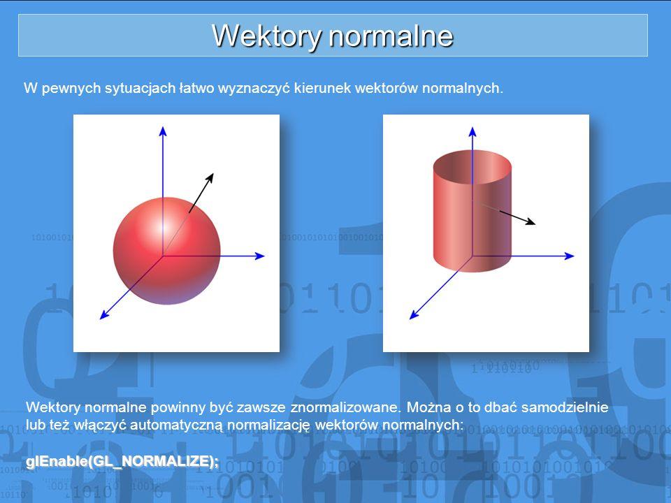 Wektory normalne W pewnych sytuacjach łatwo wyznaczyć kierunek wektorów normalnych. Wektory normalne powinny być zawsze znormalizowane. Można o to dba