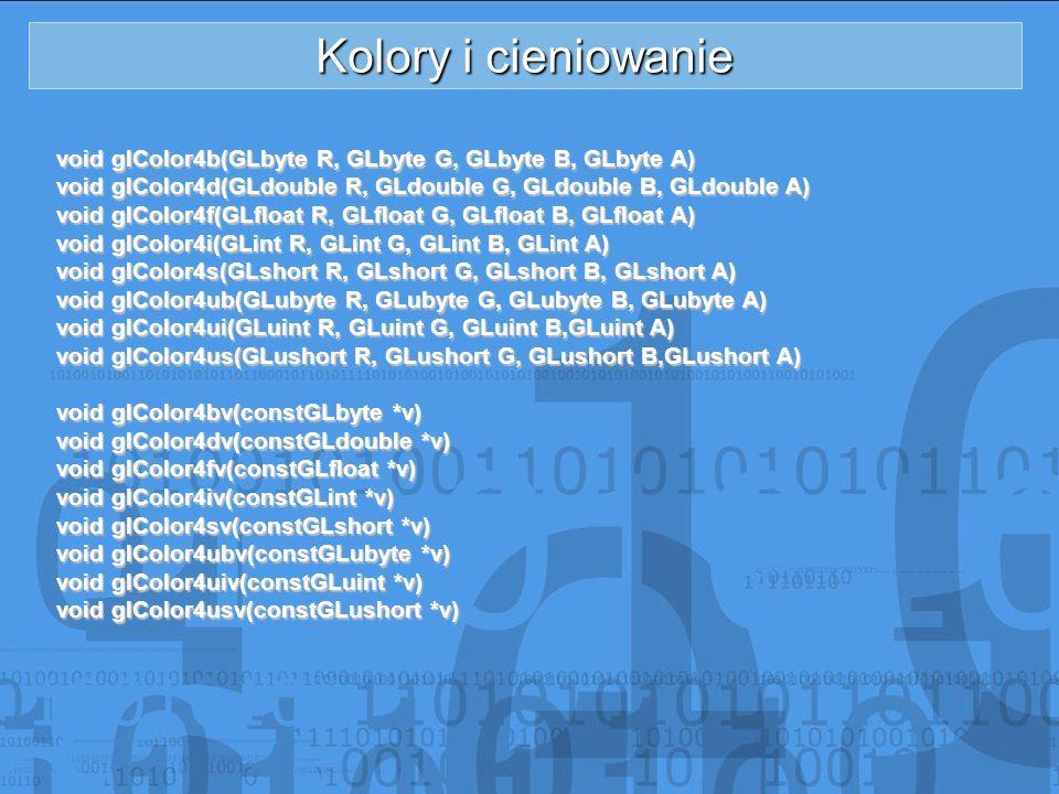 Kolory i cieniowanie void glColor4b(GLbyte R, GLbyte G, GLbyte B, GLbyte A) void glColor4d(GLdouble R, GLdouble G, GLdouble B, GLdouble A) void glColo