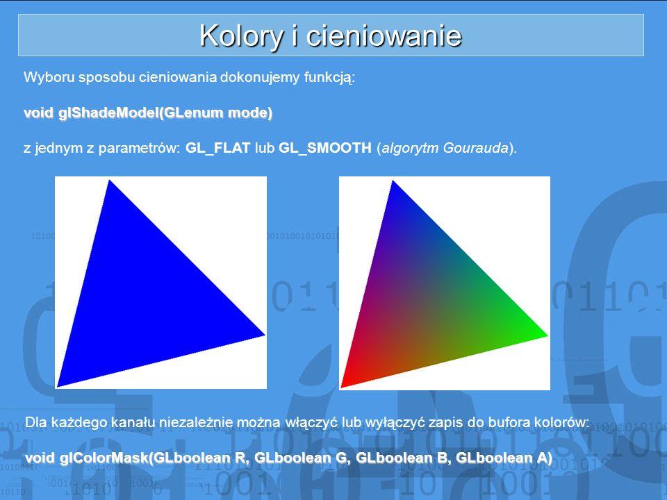 Kolory i cieniowanie Wyboru sposobu cieniowania dokonujemy funkcją: void glShadeModel(GLenum mode) z jednym z parametrów: GL_FLAT lub GL_SMOOTH (algor