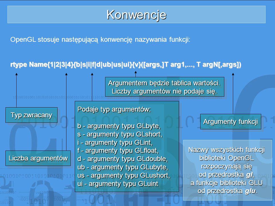 Konwencje OpenGL stosuje następującą konwencję nazywania funkcji: rtype Name{1|2|3|4}{b|s|i|f|d|ub|us|ui}{v}([args,]T arg1,..., T argN[,args]) Typ zwr