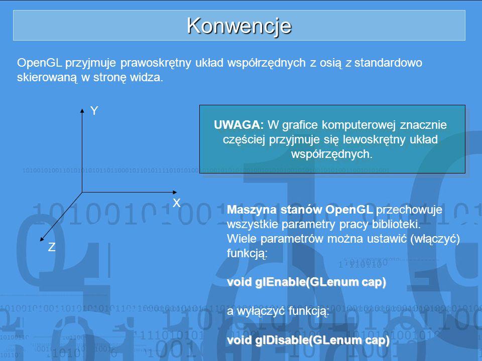 Konwencje OpenGL przyjmuje prawoskrętny układ współrzędnych z osią z standardowo skierowaną w stronę widza. X Y Z UWAGA: W grafice komputerowej znaczn