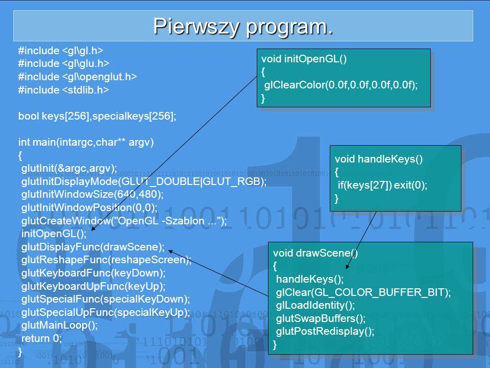 Pierwszy program. #include bool keys[256],specialkeys[256]; int main(intargc,char** argv) { glutInit(&argc,argv); glutInitDisplayMode(GLUT_DOUBLE|GLUT
