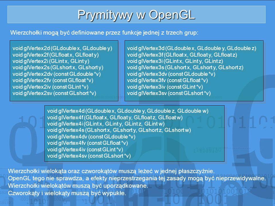 Prymitywy w OpenGL Wierzchołki mogą być definiowane przez funkcje jednej z trzech grup: void glVertex2d (GLdouble x, GLdouble y) void glVertex2f (GLfl