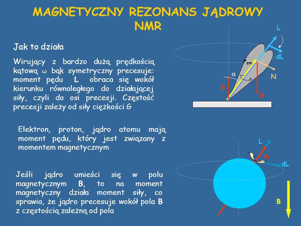 Wirujący z bardzo dużą prędkością kątową bąk symetryczny precesuje: moment pędu L obraca się wokół kierunku równoległego do działającej siły, czyli do