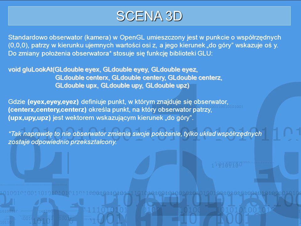 SCENA 3D Standardowo obserwator (kamera) w OpenGL umieszczony jest w punkcie o współrzędnych (0,0,0), patrzy w kierunku ujemnych wartości osi z, a jeg