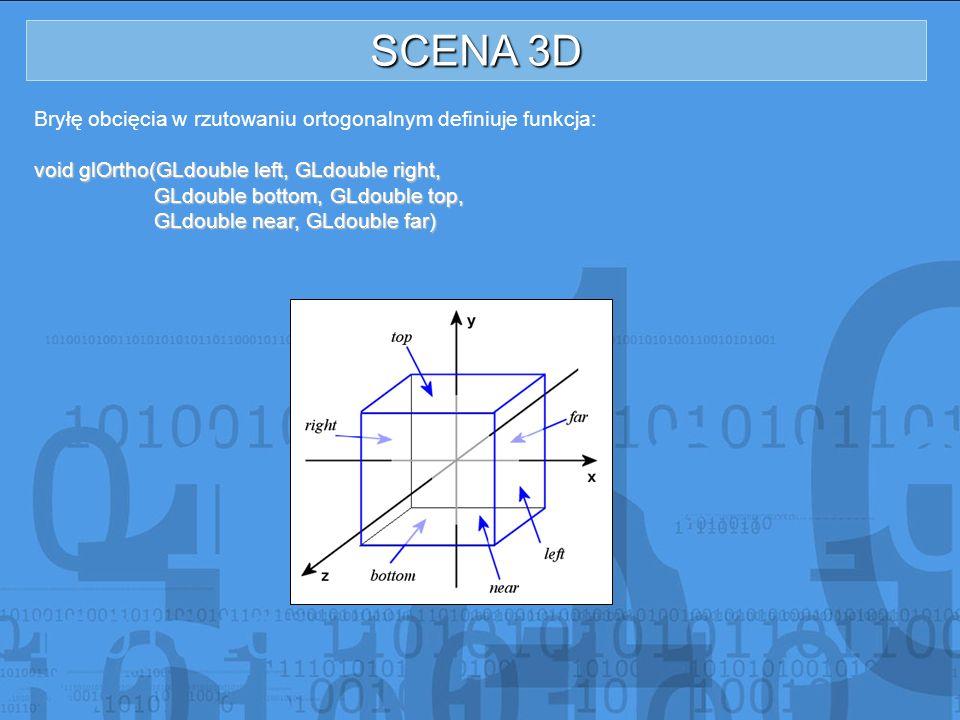 SCENA 3D Bryłę obcięcia w rzutowaniu ortogonalnym definiuje funkcja: void glOrtho(GLdouble left, GLdouble right, GLdouble bottom, GLdouble top, GLdoub