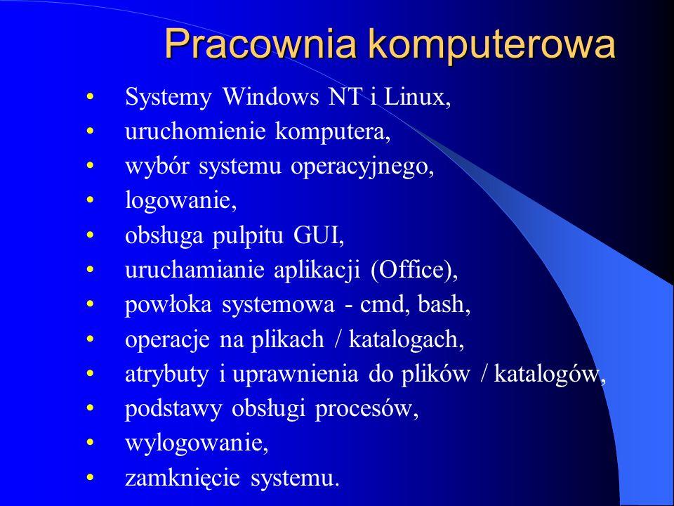 Pracownia komputerowa Systemy Windows NT i Linux, uruchomienie komputera, wybór systemu operacyjnego, logowanie, obsługa pulpitu GUI, uruchamianie aplikacji (Office), powłoka systemowa - cmd, bash, operacje na plikach / katalogach, atrybuty i uprawnienia do plików / katalogów, podstawy obsługi procesów, wylogowanie, zamknięcie systemu.
