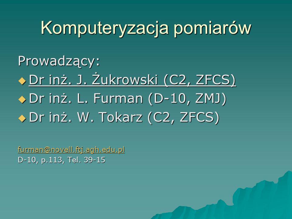 Komputeryzacja pomiarów Prowadzący: Dr inż. J. Żukrowski (C2, ZFCS) Dr inż. J. Żukrowski (C2, ZFCS) Dr inż. L. Furman (D-10, ZMJ) Dr inż. L. Furman (D