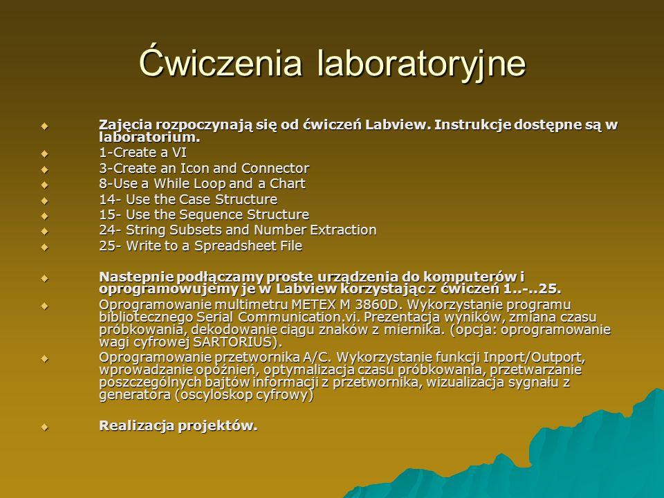 Ćwiczenia laboratoryjne Zajęcia rozpoczynają się od ćwiczeń Labview. Instrukcje dostępne są w laboratorium. Zajęcia rozpoczynają się od ćwiczeń Labvie