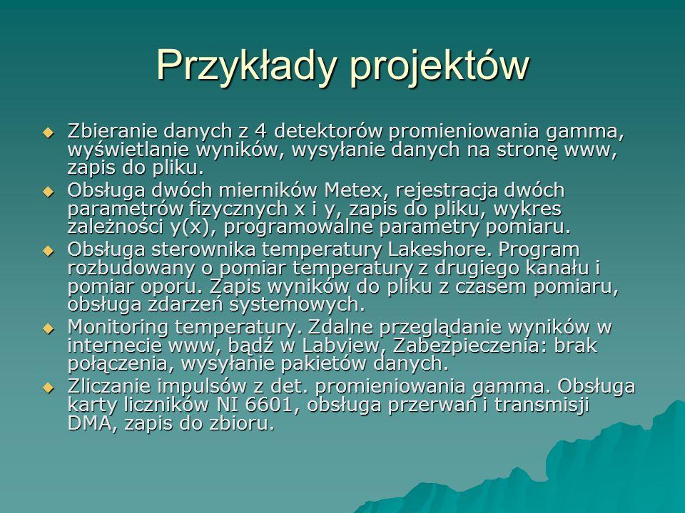 Przykłady projektów Zbieranie danych z 4 detektorów promieniowania gamma, wyświetlanie wyników, wysyłanie danych na stronę www, zapis do pliku. Zbiera