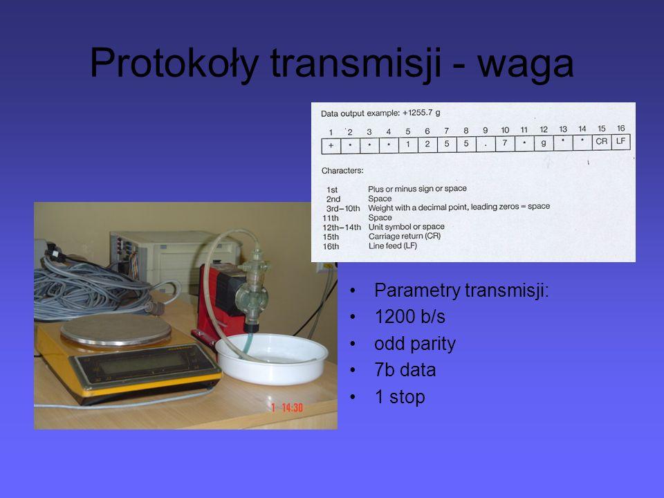 Protokoły transmisji - waga Parametry transmisji: 1200 b/s odd parity 7b data 1 stop