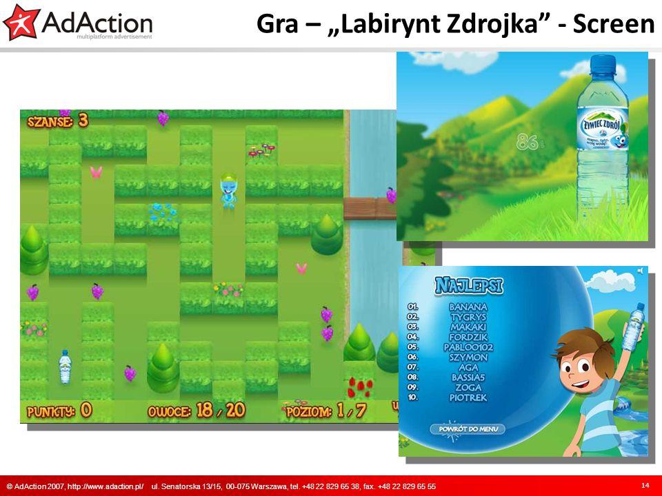 Gra – Labirynt Zdrojka - Screen 14 © AdAction 2007, http://www.adaction.pl/ ul. Senatorska 13/15, 00-075 Warszawa, tel. +48 22 829 65 38, fax. +48 22