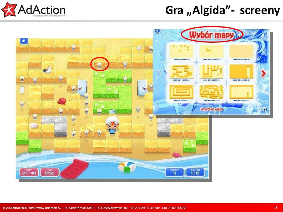 Gra Algida- screeny 16 © AdAction 2007, http://www.adaction.pl/ ul. Senatorska 13/15, 00-075 Warszawa, tel. +48 22 829 65 38, fax. +48 22 829 65 55