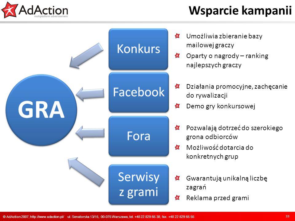 Wsparcie kampanii 33 © AdAction 2007, http://www.adaction.pl/ ul. Senatorska 13/15, 00-075 Warszawa, tel. +48 22 829 65 38, fax. +48 22 829 65 55 Umoż