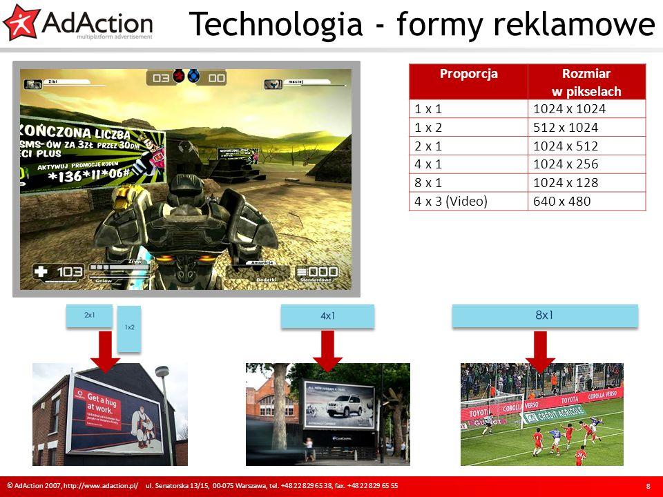 ProporcjaRozmiar w pikselach 1 x 11024 x 1024 1 x 2512 x 1024 2 x 11024 x 512 4 x 11024 x 256 8 x 11024 x 128 4 x 3 (Video)640 x 480 Technologia - formy reklamowe 8 © AdAction 2007, http://www.adaction.pl/ ul.