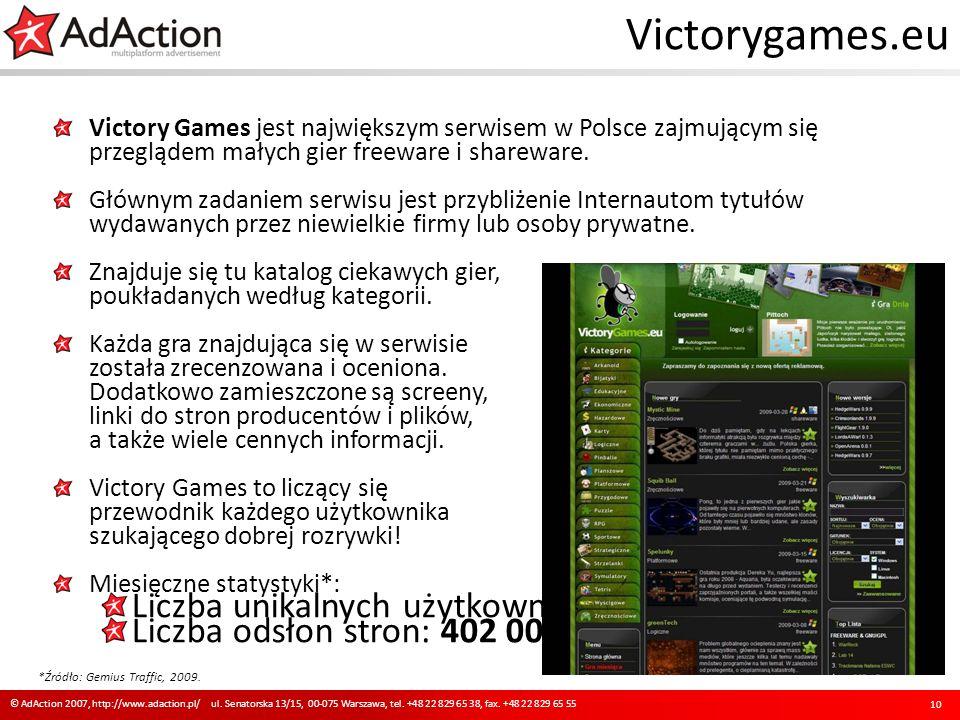 Victorygames.eu Victory Games jest największym serwisem w Polsce zajmującym się przeglądem małych gier freeware i shareware. Głównym zadaniem serwisu