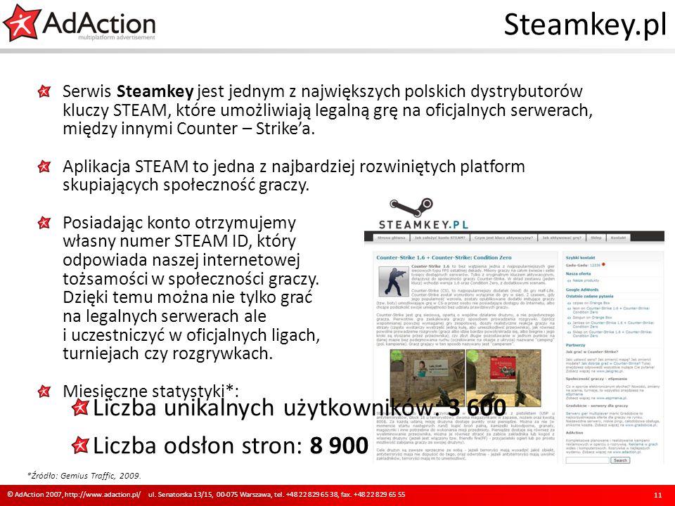 Steamkey.pl Serwis Steamkey jest jednym z największych polskich dystrybutorów kluczy STEAM, które umożliwiają legalną grę na oficjalnych serwerach, mi