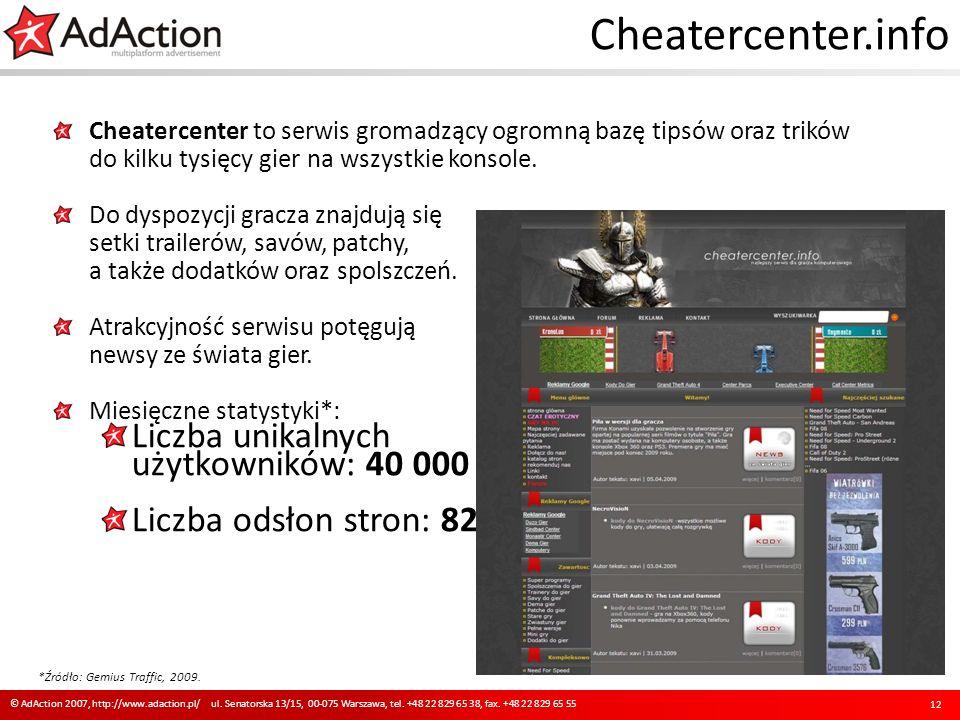 Cheatercenter.info Cheatercenter to serwis gromadzący ogromną bazę tipsów oraz trików do kilku tysięcy gier na wszystkie konsole. Do dyspozycji gracza