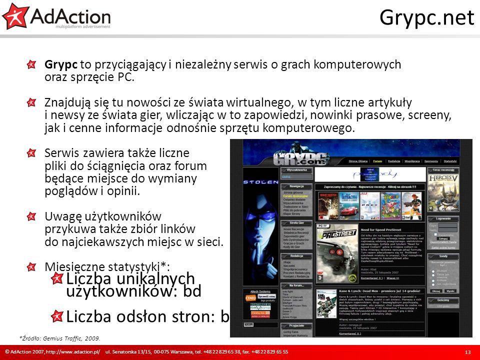 Grypc.net Grypc to przyciągający i niezależny serwis o grach komputerowych oraz sprzęcie PC. Znajdują się tu nowości ze świata wirtualnego, w tym licz