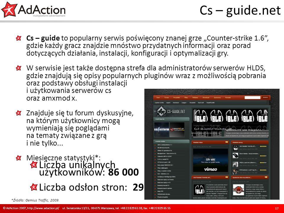 Cs – guide.net Cs – guide to popularny serwis poświęcony znanej grze Counter-strike 1.6, gdzie każdy gracz znajdzie mnóstwo przydatnych informacji ora