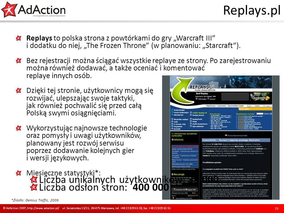 Replays.pl Replays to polska strona z powtórkami do gry Warcraft III i dodatku do niej, The Frozen Throne (w planowaniu: Starcraft). Bez rejestracji m