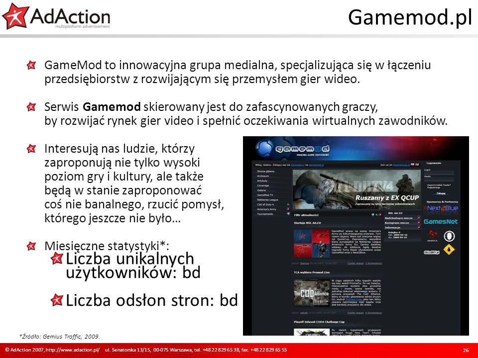 Gamemod.pl GameMod to innowacyjna grupa medialna, specjalizująca się w łączeniu przedsiębiorstw z rozwijającym się przemysłem gier wideo. Serwis Gamem