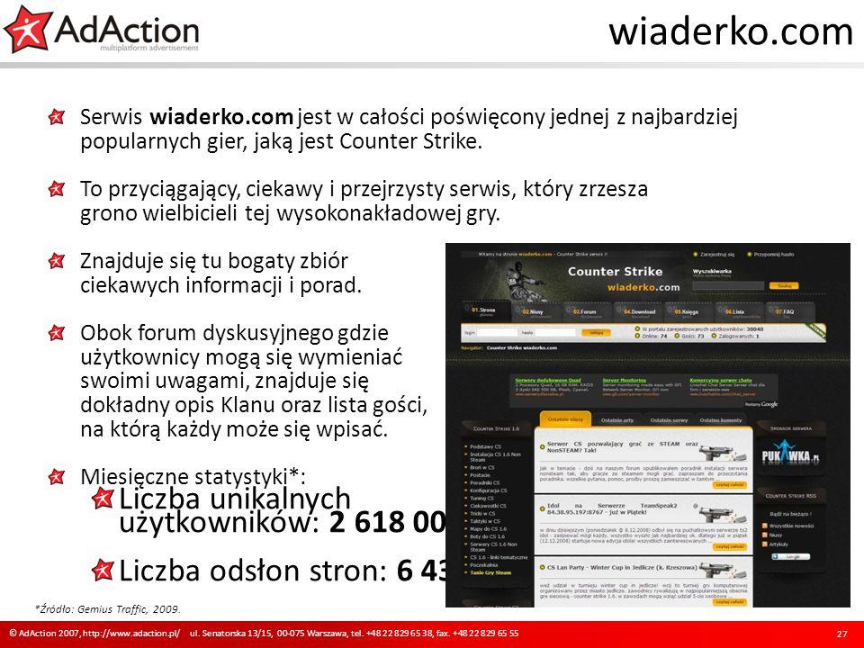 wiaderko.com Serwis wiaderko.com jest w całości poświęcony jednej z najbardziej popularnych gier, jaką jest Counter Strike. To przyciągający, ciekawy