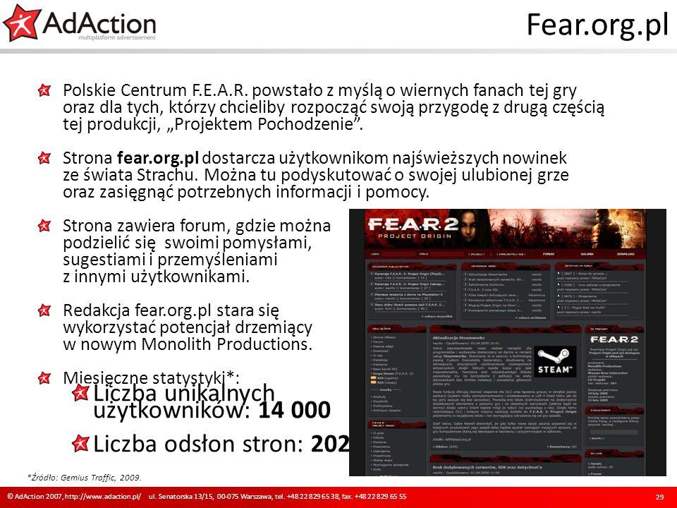 Fear.org.pl Polskie Centrum F.E.A.R. powstało z myślą o wiernych fanach tej gry oraz dla tych, którzy chcieliby rozpocząć swoją przygodę z drugą częśc
