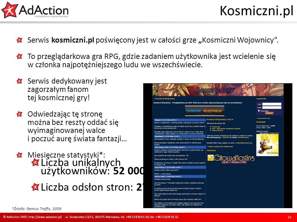 Kosmiczni.pl Serwis kosmiczni.pl poświęcony jest w całości grze Kosmiczni Wojownicy. To przeglądarkowa gra RPG, gdzie zadaniem użytkownika jest wciele