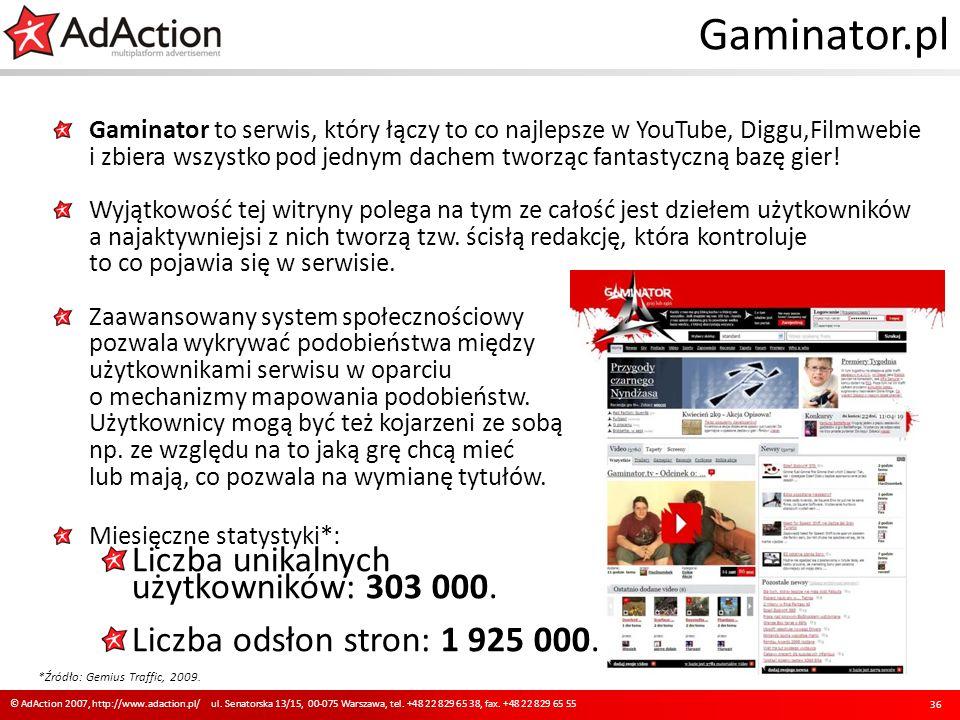Gaminator.pl Gaminator to serwis, który łączy to co najlepsze w YouTube, Diggu,Filmwebie i zbiera wszystko pod jednym dachem tworząc fantastyczną bazę