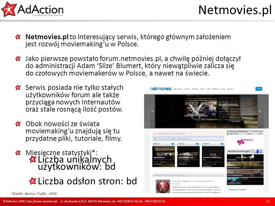 Netmovies.pl Netmovies.pl to interesujący serwis, którego głównym założeniem jest rozwój moviemakingu w Polsce. Jako pierwsze powstało forum.netmovies