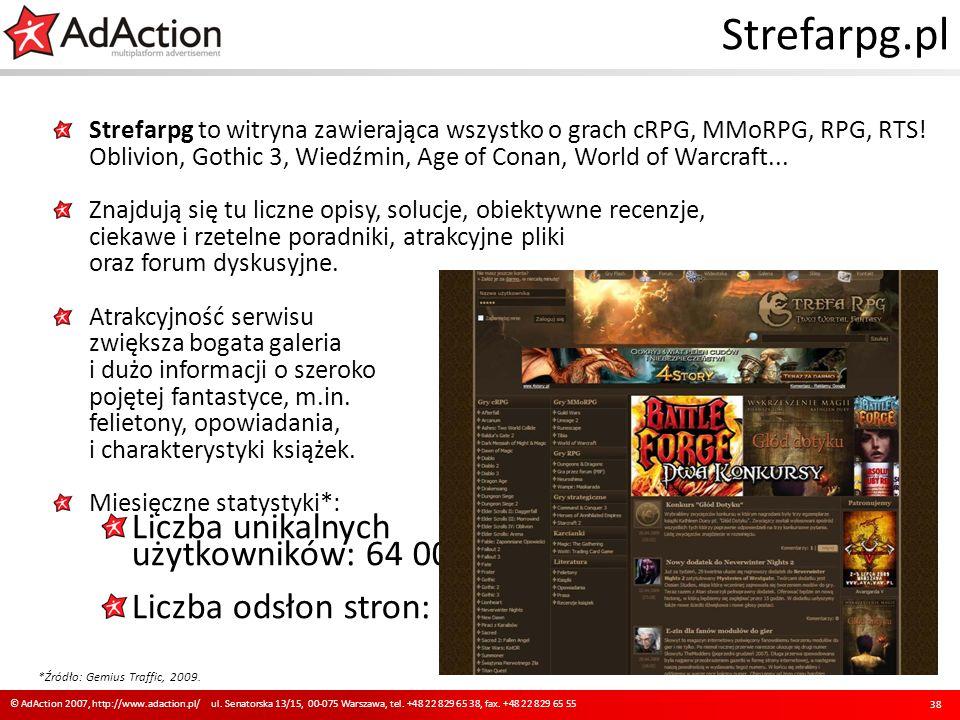 Strefarpg.pl Strefarpg to witryna zawierająca wszystko o grach cRPG, MMoRPG, RPG, RTS! Oblivion, Gothic 3, Wiedźmin, Age of Conan, World of Warcraft..