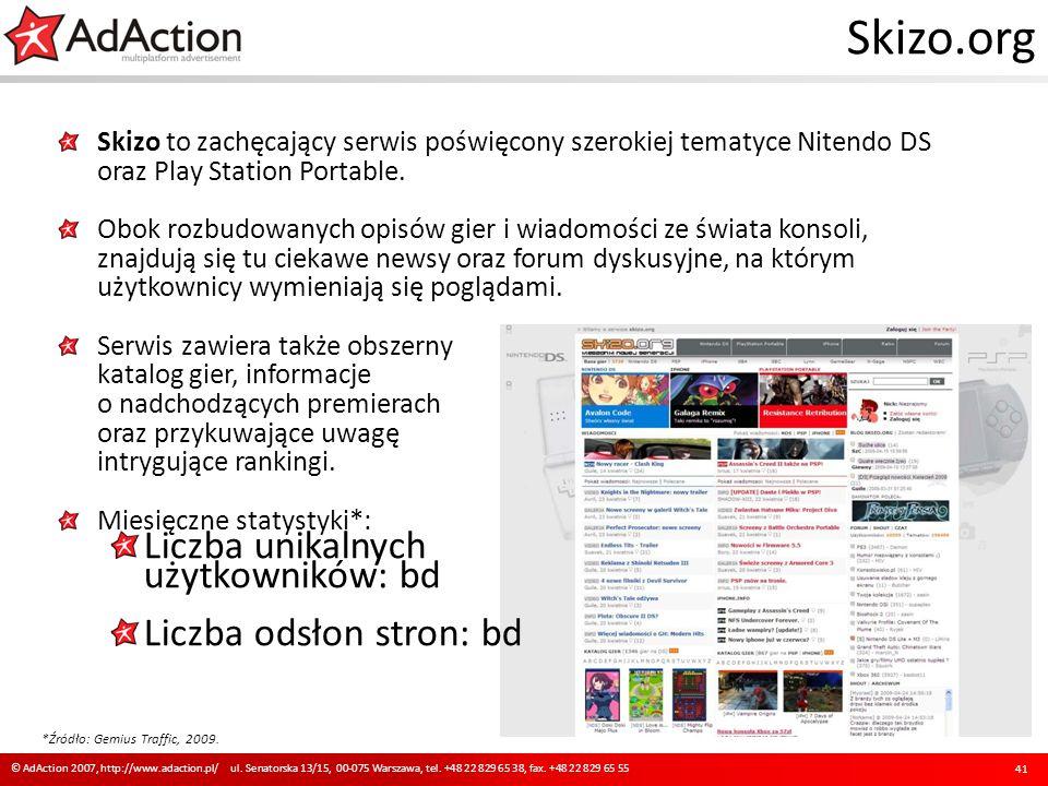 Skizo.org Skizo to zachęcający serwis poświęcony szerokiej tematyce Nitendo DS oraz Play Station Portable. Obok rozbudowanych opisów gier i wiadomości