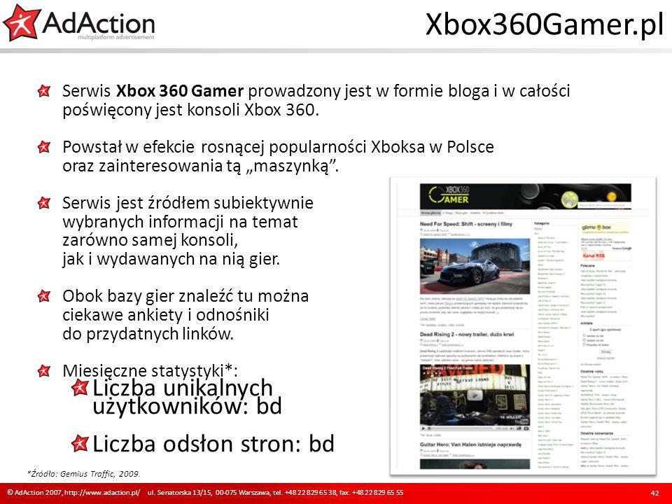 Xbox360Gamer.pl Serwis Xbox 360 Gamer prowadzony jest w formie bloga i w całości poświęcony jest konsoli Xbox 360. Powstał w efekcie rosnącej popularn